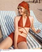 70-es évek beli pöttyös nyakbakötős bikini / Dotted bikini from the 70s